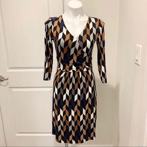 💙 Boden White Black & Tan Long Sleeve Dress - 6